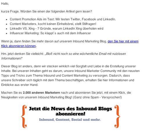 email für blog subscriber