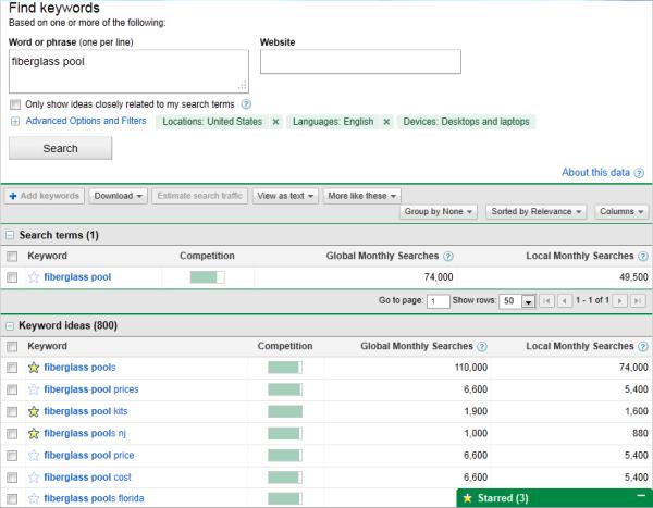 Screenshot des GoogleAdsKeyword-Planers