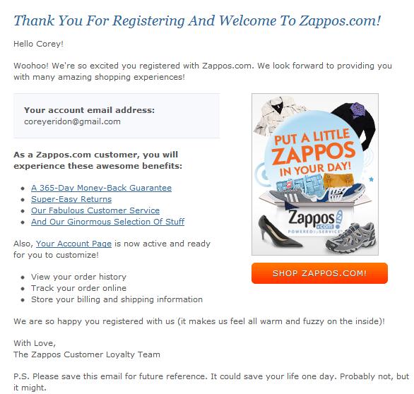 HubSpot - Ansprechende Marketing-E-Mails schreiben - Beispiel von Zappos