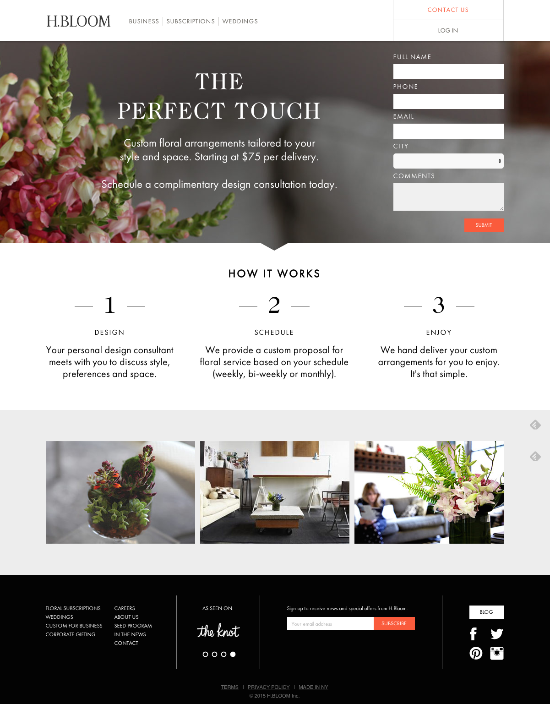 Beispiele für ansprechendes Landing-Page-Design – H.BLOOM