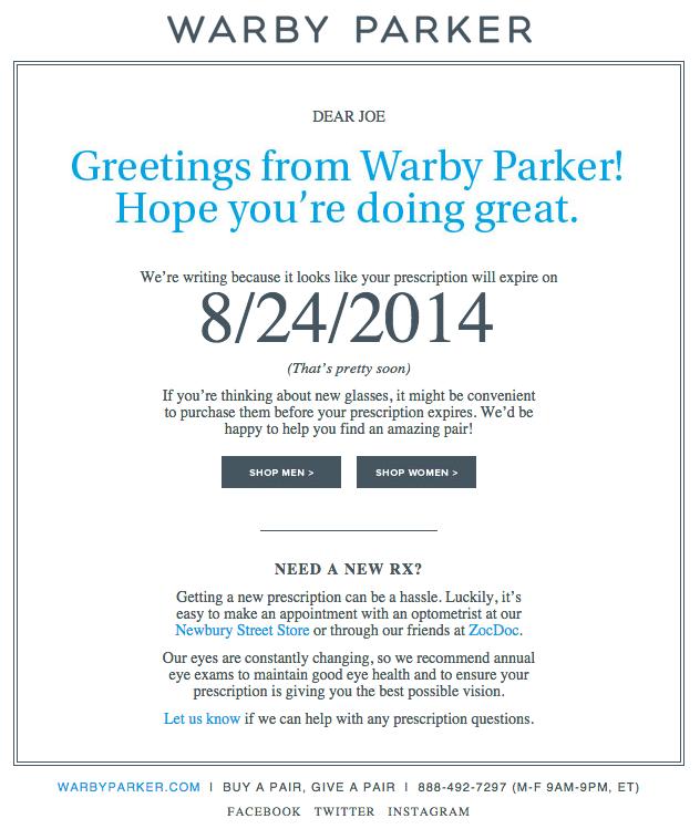 Beispiele herausragender E-Mail-Marketing-Kampagnen – Warby Parker