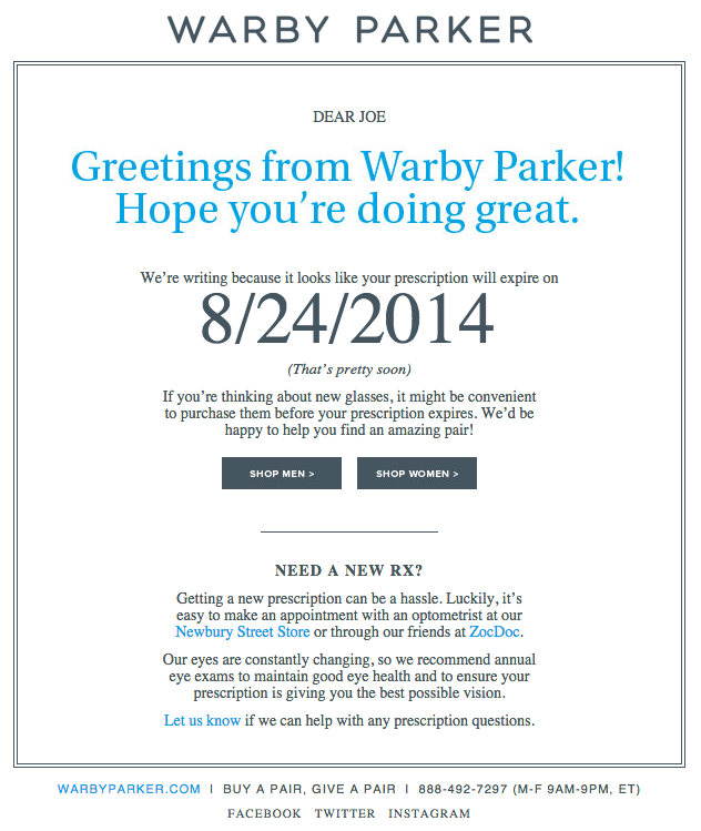 Beispiele herausragender E-Mail-Marketing-Kampagnen – Warby Parker