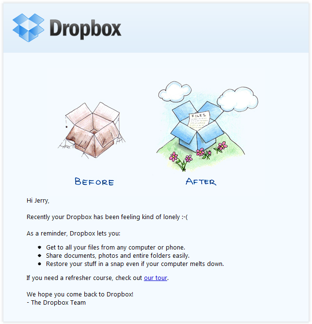 Beispiele herausragender E-Mail-Marketing-Kampagnen – Dropbox