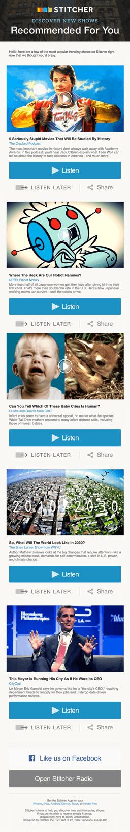 Beispiele herausragender E-Mail-Marketing-Kampagnen – Stitcher