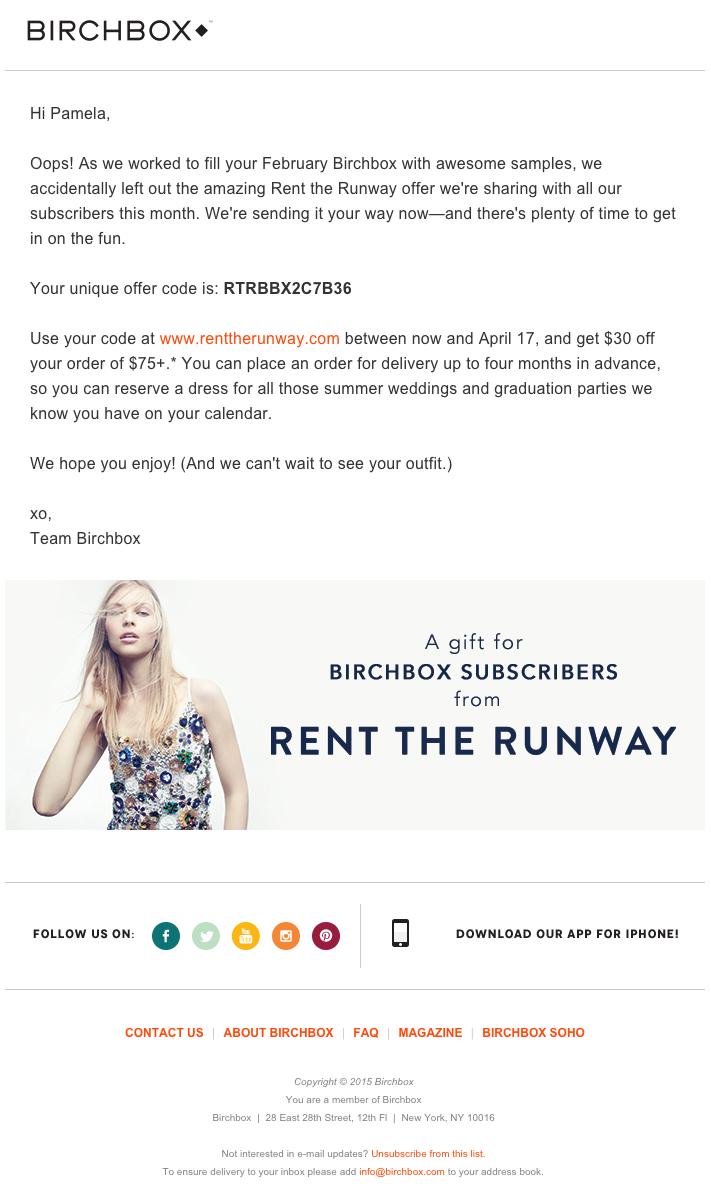 Beispiele herausragender E-Mail-Marketing-Kampagnen – Birchbox