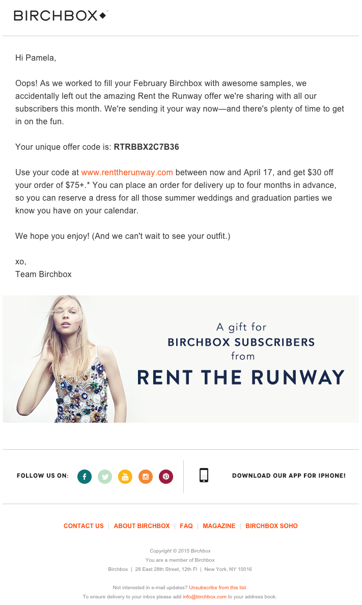 Beispiele herausragender E-Mail-Marketing-Kampagnen – Birchbox