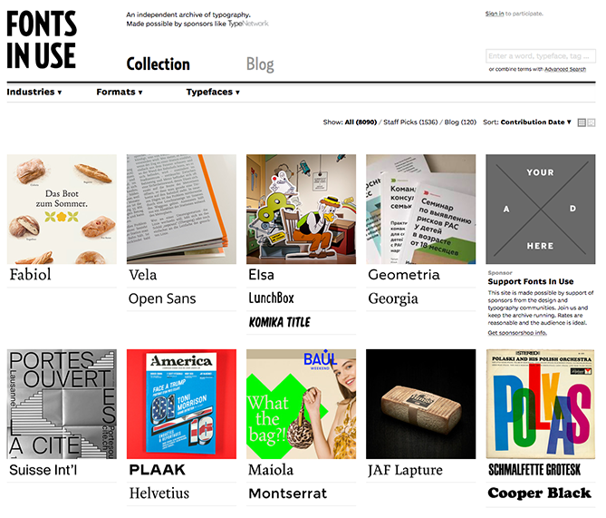 Fonts in Use gibt einen guten Einblick in die Schriftarten, die in verschiedenen Medien und Formaten verwendet werden.