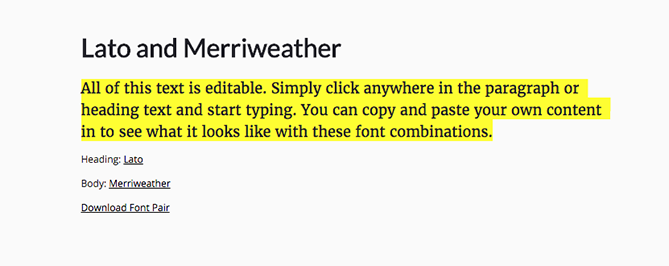 Eine Schriftartenkombination auf Font Pair