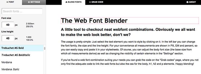 Die Oberfläche von Web Font Blender