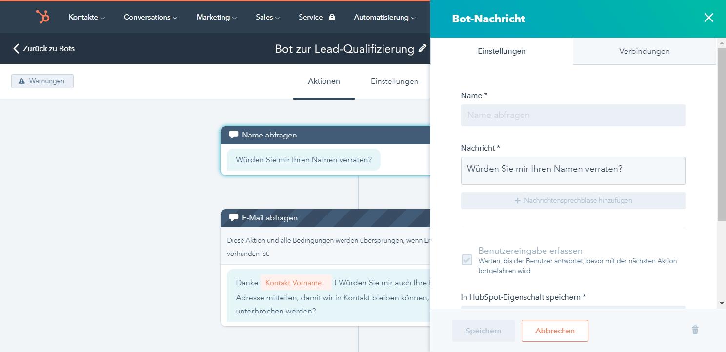 chatbot und livechat plugin hubspot