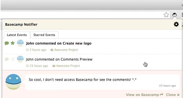 Google-Chrome-Erweiterungen für Vertriebsmitarbeiter – Basecamp Notifier