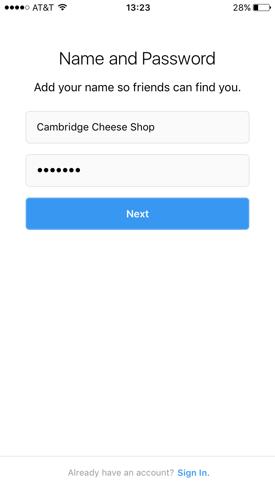 Instagram-Unternehmensnamen eingeben