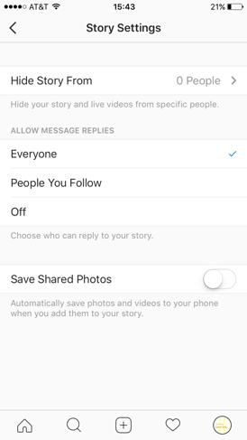 Instagram–Story-Einstellungen