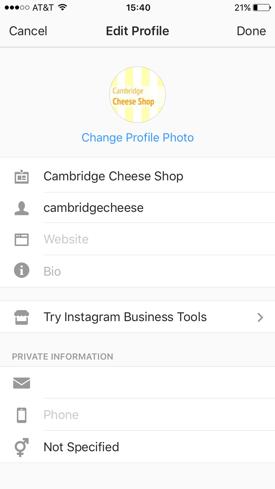 Instagram-Profil aktualisieren
