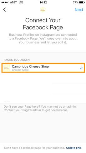 Facebook-Unternehmensseite auswählen