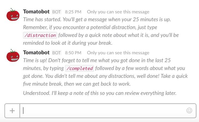 HubSpot - Produktivitäts-Bots für Marketer - Tomatobot in Slack