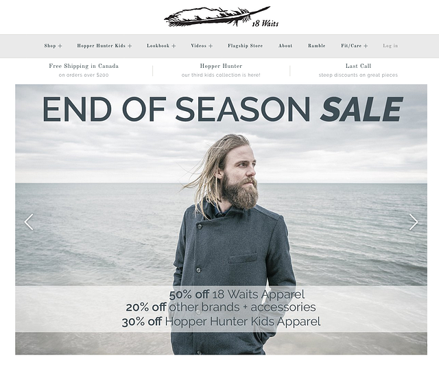 Beispiel eines Online-Shop – 18Waits