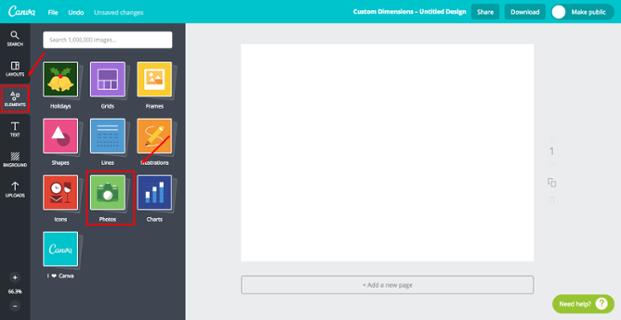 Canva - Hintergrundfarbe wählen und Fotos einfügen