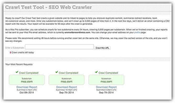 HubSpot Inbound-Marketing – Kostenlose SEO-Tools – MOZ Crawl Test Tool
