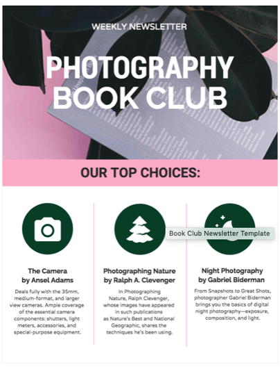 Venngage Newsletter Vorlage Book Club