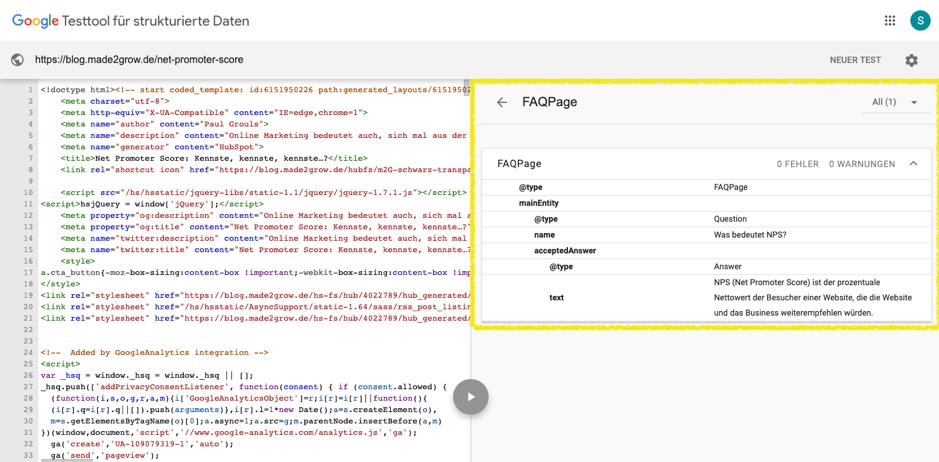 FAQ-Markup-in-google-testen