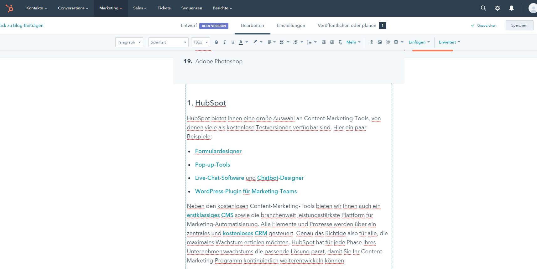 HubSpot-Editor