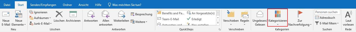 HubSpot-Outlook-Kategorisieren