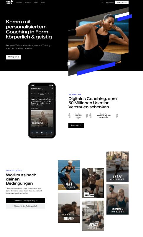 freeletics.de – Online-Fitnesskurse webseite