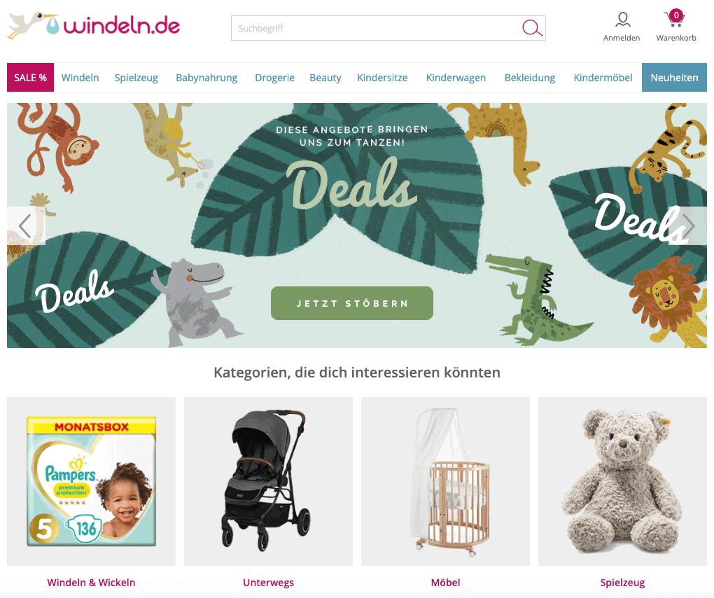 windeln.de – Onlineshop für Baby- und Kinderprodukte Webseite