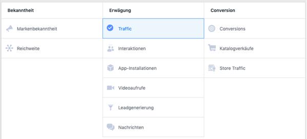 Bekanntheit erwägung und conversion im facebook business manager