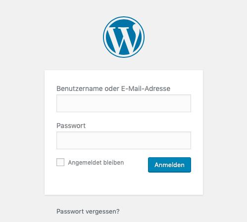 Bei Wordpress anmelden