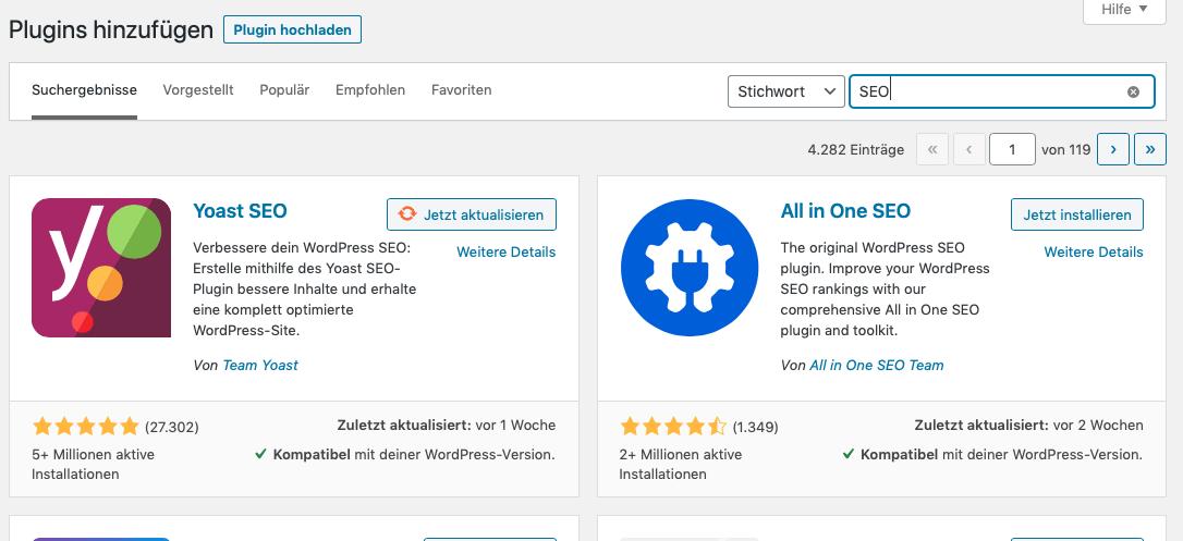 WordPress Plugins mit Stichwort suchen