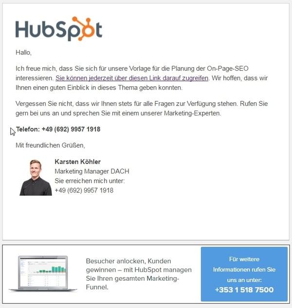 Beispiel einer Kickback-E-Mail von HubSpot