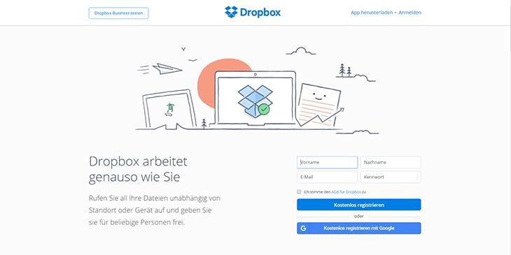 Beispiele von gutem Homepage-Design - Dropbox