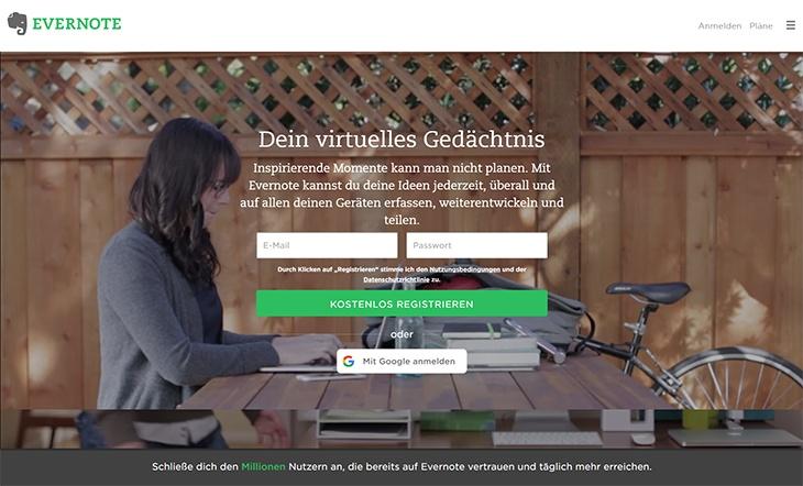 Beispiele von gutem Homepage-Design - Evernote