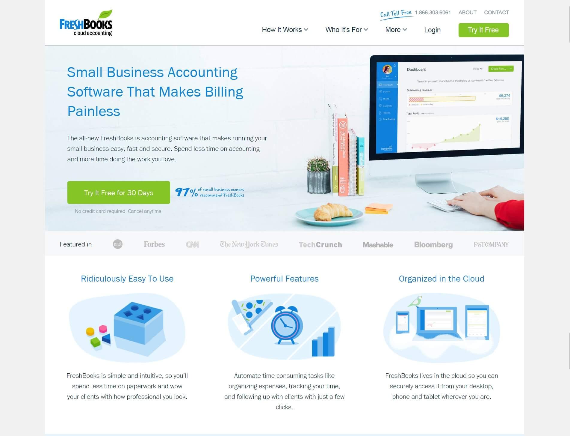Beispiele von gutem Homepage-Design - FreshBooks