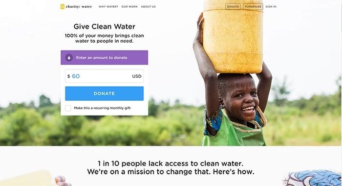 Beispiele von gutem Homepage-Design - charity:water