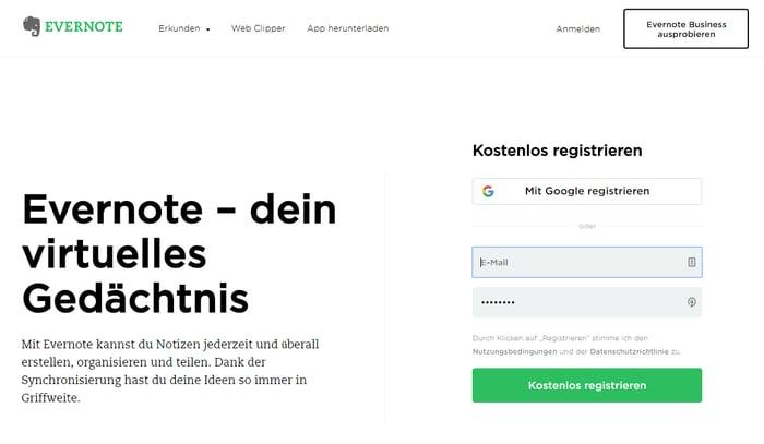 CTA auf der Evernote-Homepage