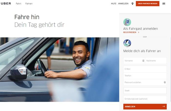 CTAs auf der Homepage von Uber