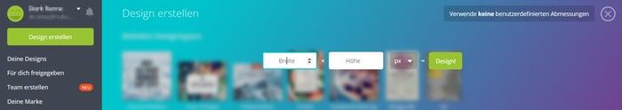 HubSpot - Visueller Content mit Canva - Neues Design mit benutzerdefinierter Größe