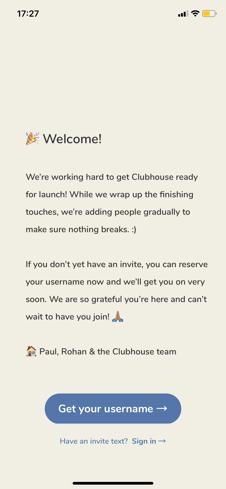 Clubhouse willkommensbildschirm