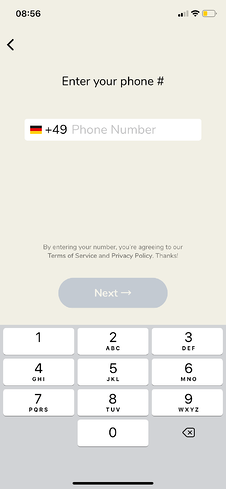 Clubhouse Anmeldung: Telefonnummer angeben