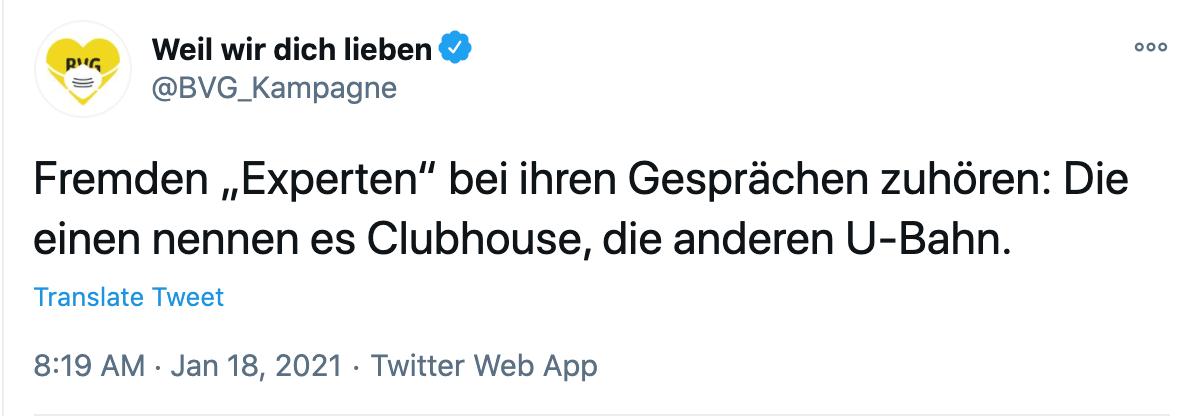 BVG Tweet zu Clubhouse