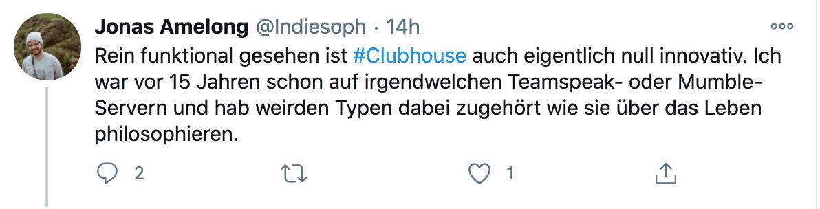 Jonas Amelongs Tweet zu Clubhouse