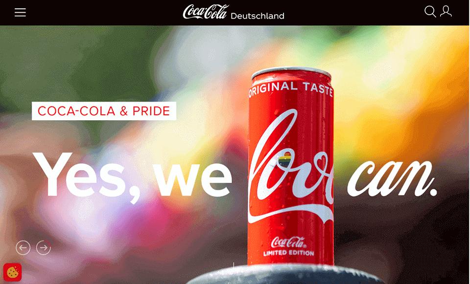 das deutliche rote Corporate-Design von coca cola auf der webseite