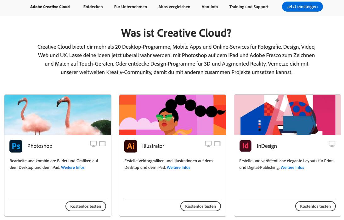 screenshot der webseite von adobe im Corporate Design