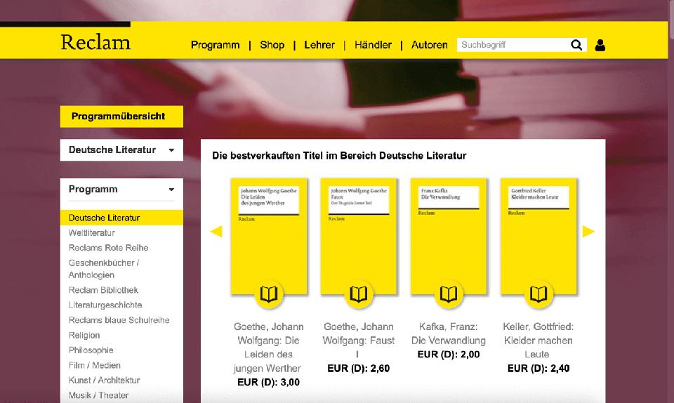 die webseite von reclam zeigt das gelbe Corporate Design