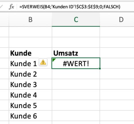 Excel SVERWEIS Wert