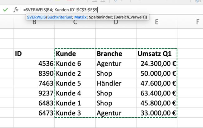 Excel SVERWEIS Matrix markieren