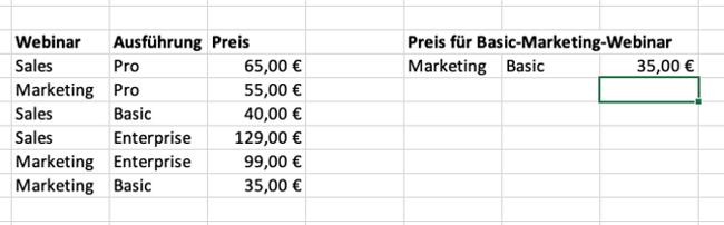 Excel SVERWEIS Suchkriterien